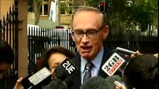 Carr heckled outside NSW Parliament