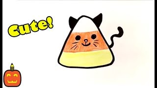How to Draw Cute Candy Corn - Cat Version - Halloween Drawings