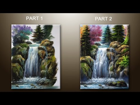 How to Paint  Waterfall With Acrylics Lesson 2 ( PART 1)