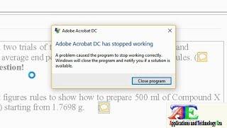 Fixed 100%: Adobe Acrobat DC has Stopped Working Windows 8 & 10 | PDF Reader Crashing Error