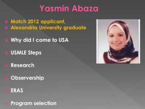 Yasmin abaza Part 1 US experience Research observerships Match YouTube