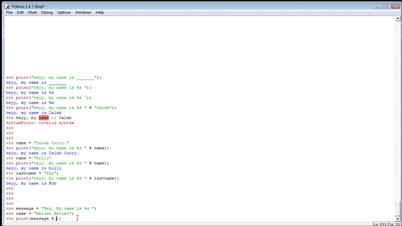 Python Tutorial 7 - Embedding Variables Within Strings - YouTube