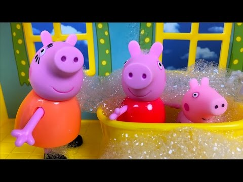 STORY WITH GEORGE PIG AND THE BUBBLE BATH WITH PEPPA PIG AND MAMA PIG AT THE PEPPA PIG'S HOUSE