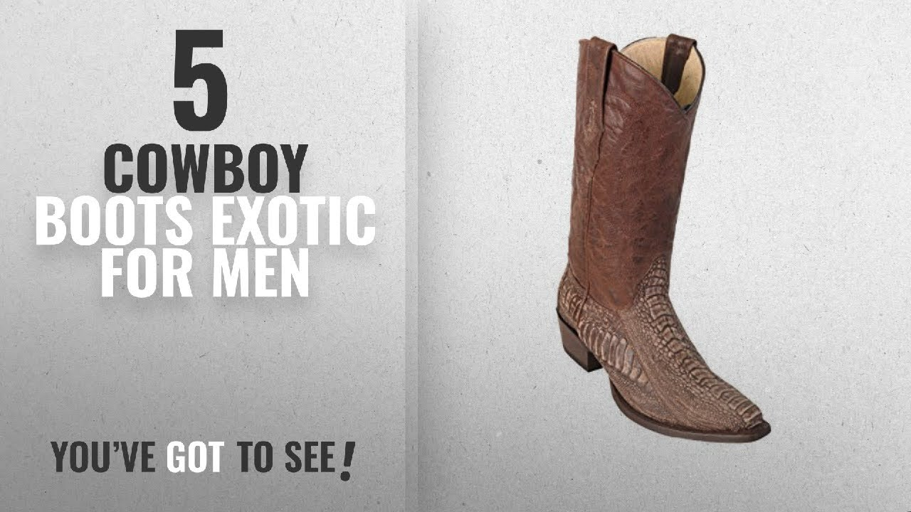 3721808c5fb Top 10 Cowboy Boots Exotic [ Winter 2018 ]: Men's Sinp Toe Sanded Brown  Genuine Leather Ostrich Leg