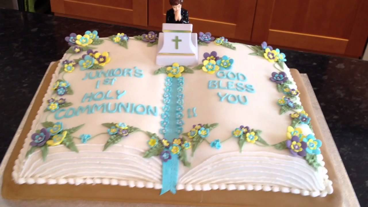 Holy communion cake youtube for 1st holy communion cake decoration ideas