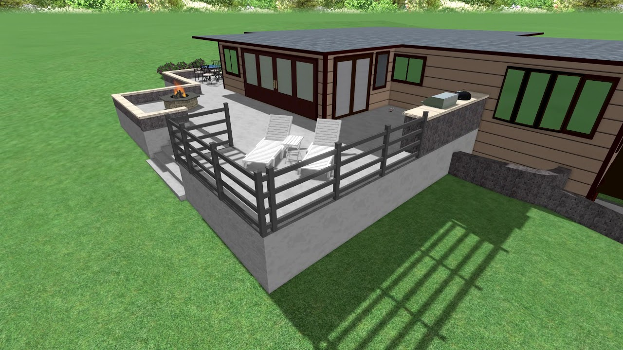 raised concrete patio and seat wall 3d