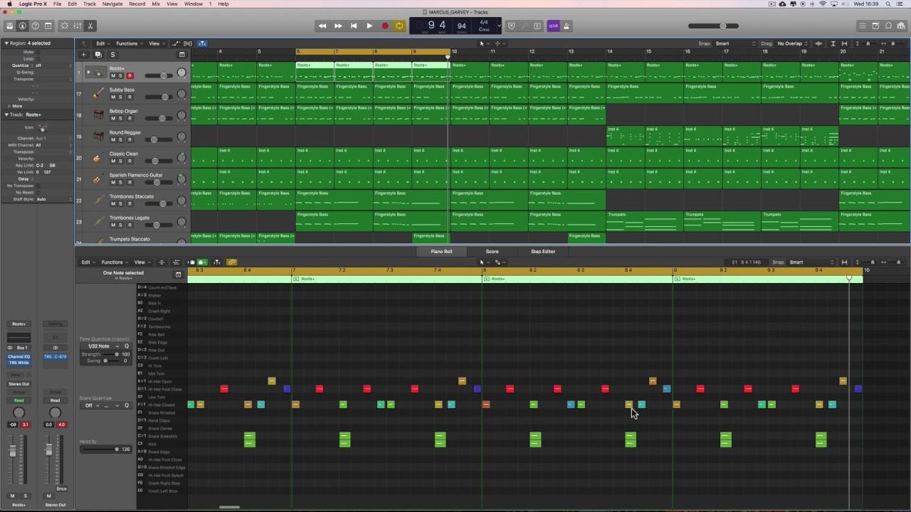Logic Pro X Making Reggae & Dub (19) Marcus Garvey (drums and bass)