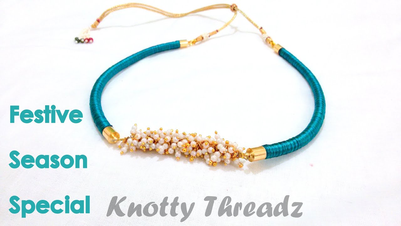 necklace blue combination golden and silk thread