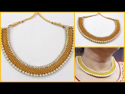 How to make Partywear  Designer Necklace at home I Handmade Chokar tutorial