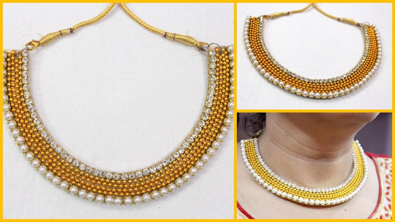 How to make Partywear Designer Necklace at home I Handmade Chokar