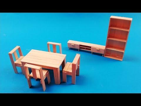 Como hacer mesa, sillas y muebles miniatura para casa de muñecas