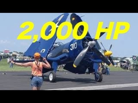 F4U Corsair Cold Start And Taxiing To Runway Vintage Warbird Sound Up Whistling Death