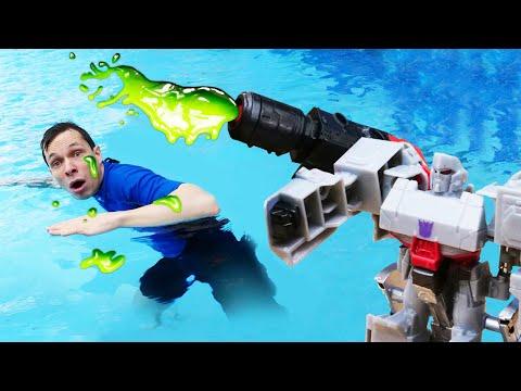 Роботы Трансформеры в Аквапарке – Десептиконы против Акватим! – Видео игры для мальчиков