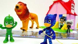 Héroes en pijamas atrapan los animales. PJ Masks en español.