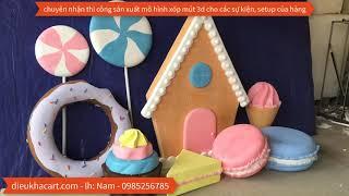 mô hình xốp 3d bánh kẹo sinh nhật-điêu khắc art