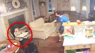 Baby Looks Up And Starts Crying, Then Dad Rushes To Grab Kid