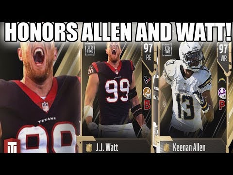 NFL HONORS KEENAN ALLEN AND JJ WATT! INSANE HONORS CARDS!   MADDEN 18 ULTIMATE TEAM