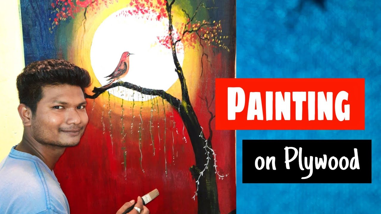 Painting on Plywood by acian paint beautiful birds on tree Drawing | technique Of Art and Craft