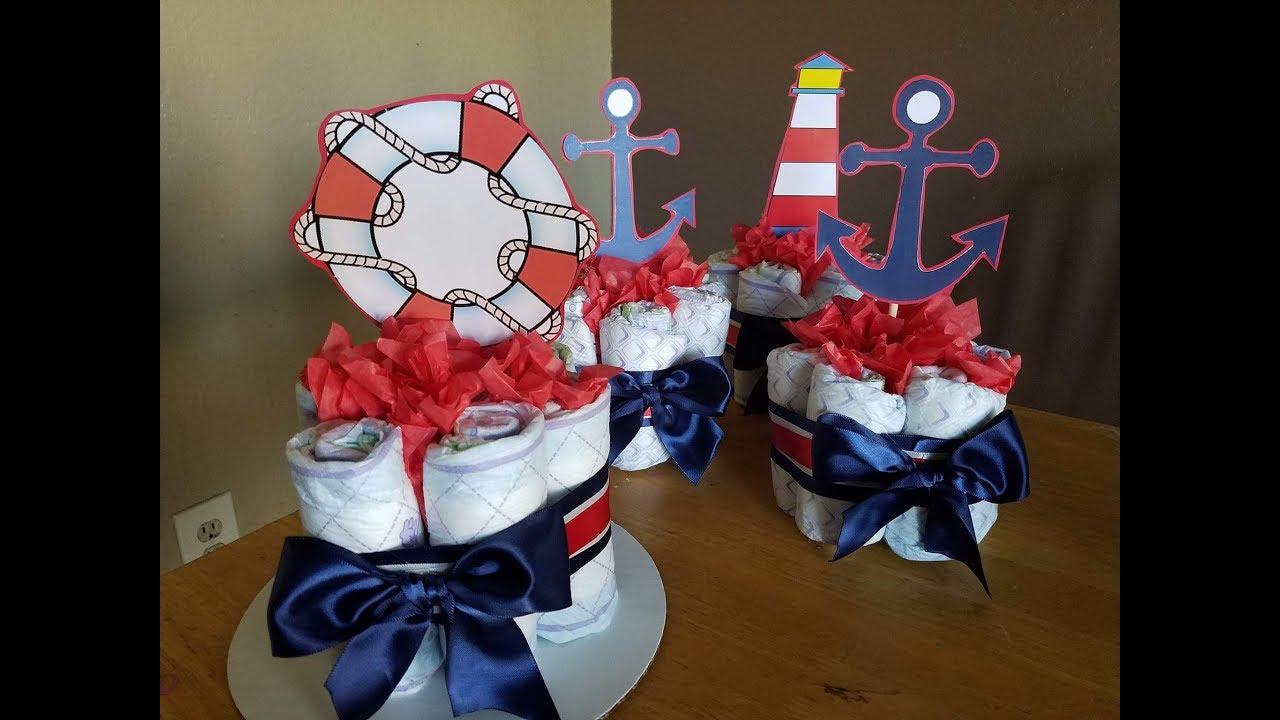Nautical Baby Diaper Cake Anchors Shower Gift Centerpiece