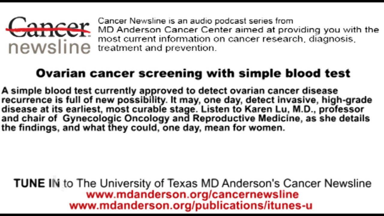 Ovarian Cancer Screening With Simple Blood Test Youtube