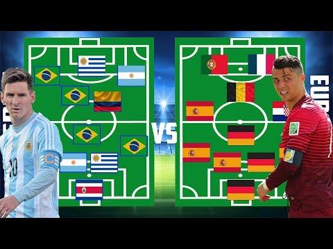 Alineación de América vs Alineación de Europa del Mundial Rusia 2018