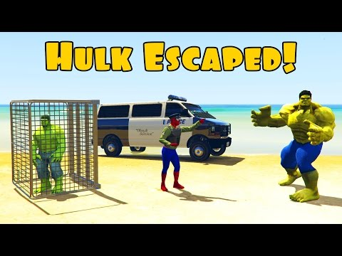 Thumbnail: Hulk escaped from Jail with big brother hulk. Police spiderman in 3d cartoon for kids and children