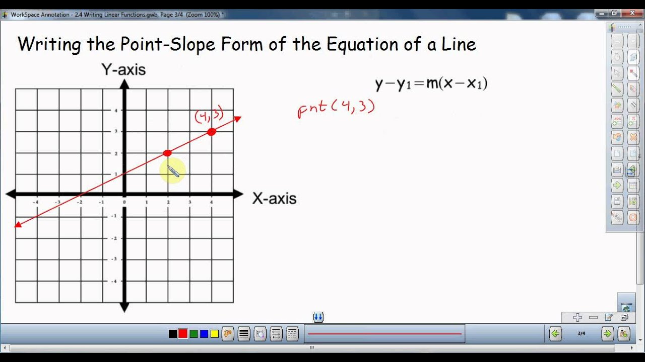 Writing the point slope form of the equation of a line youtube writing the point slope form of the equation of a line falaconquin