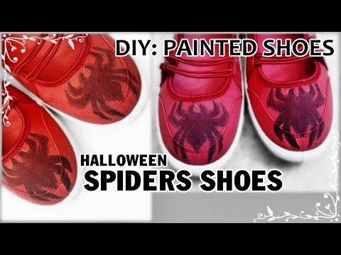 DIY: Painted Halloween Spiders Shoes | Cách vẽ giày hình CON NHỆN.