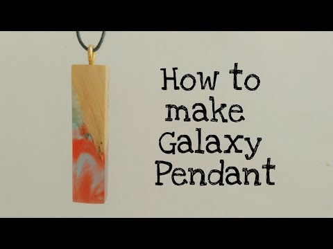 How to make Galaxy pendant necklace from Blue and red epoxy resin and wood | resin pendent tutorial