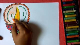 How to draw stylish colorful designer diya step by step very easily for kids