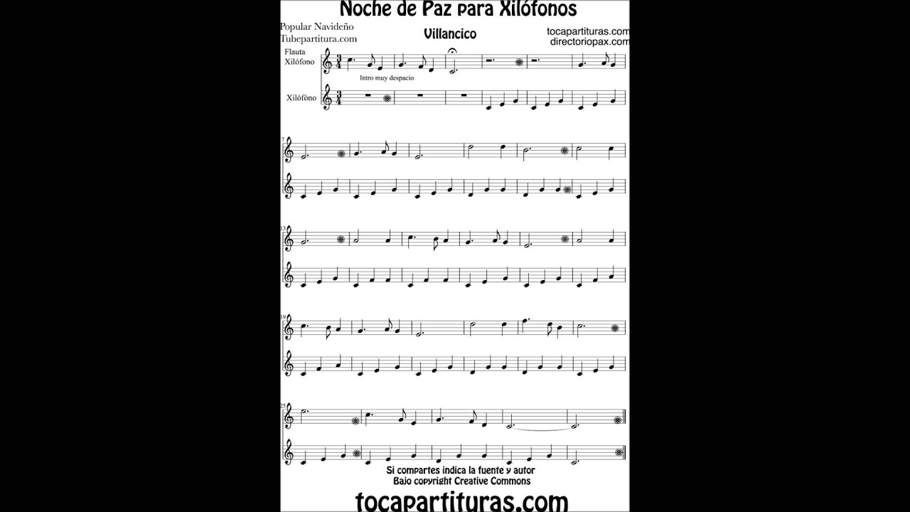Silent Night Carol sheet music for xylophone and metallophone Christmas Song - YouTube