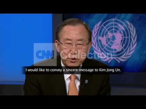 BAN KI MOON SPEAKS TO KIM JONG UN IN KOREAN