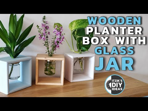 DIY Mason jar DIY Simple Wooden Flowers Planter Box With Glass Mason Jar | Hydroponics Vase Frame | Home Decor