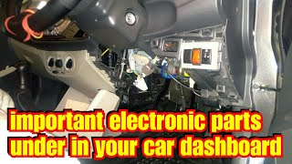 Important electronic parts under in your car dashboard