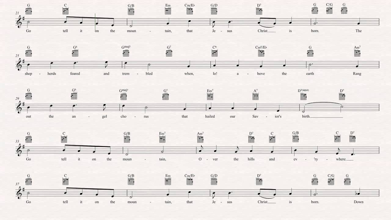 Guitar - Go Tell it on the Mountain - Christmas Carol - Sheet Music, Chords, & Vocals - YouTube