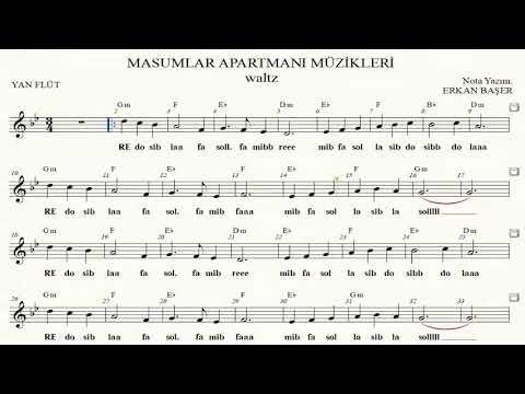 MASUMLAR APARTMANI müzikleri waltz YAN FLÜT notaları EŞLİKLİ altyapılı indir
