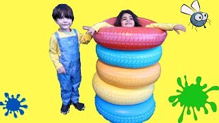 Learn Colors with Colours Inflatable tires for Kids and children! red blue yellow orange
