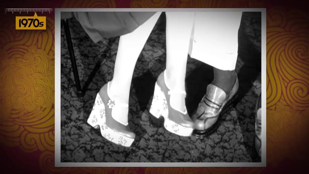 Mens Freddy 1970s Platform 3 Heel Black /& White Shoes