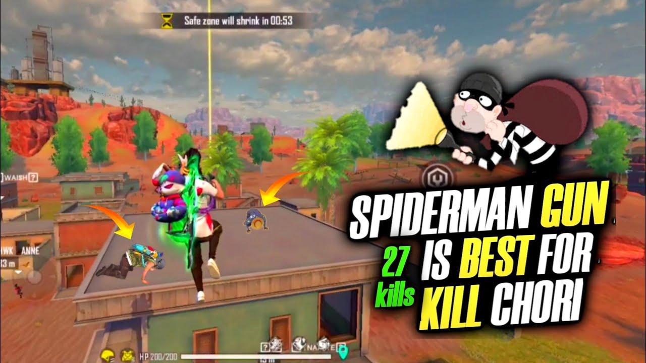 Grappling Hook Gun(Spider-Man) Gun Is Best For Kill Chori😂 26 Kills Total Garena Free Fire