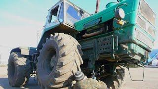 16-Д.Выезд на тракторе Т-150К после ремонта.Ремонт крепления ''подушки'' передних рессор.