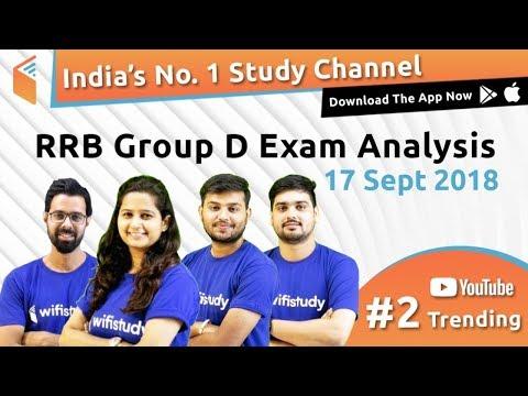 RRB Group D (17 Sept 2018, Shift-I) Exam Analysis & Asked Questions