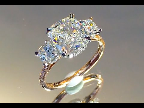 3 Carat Cushion Cut Diamond 3 Stone Engagement Ring Youtube