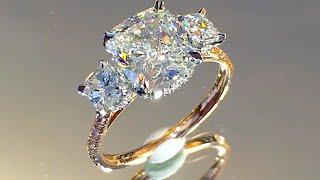 3 carat Cushion Cut Diamond 3-Stone Engagement Ring