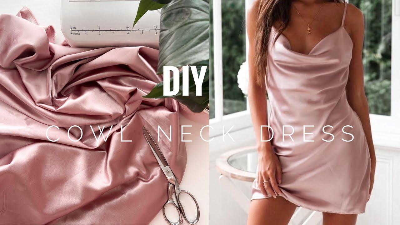 DIY Silk fancy dress / Cowl Neck Dress / Как Сшить Шелковое Платье