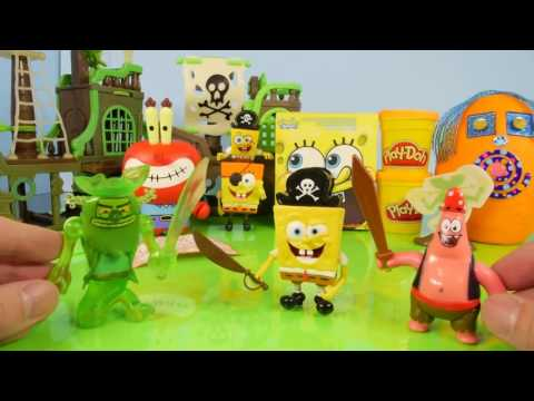 Play Doh Spongebob Squarepants Toys Flying Dutchman Ghost Ship Toy Review Kinder Surprise Egg
