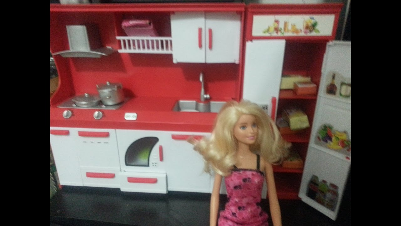 Barbie Kitchen Furniture Barbie Kitchen Eating Real Food Chef Lucy Cooking Real Pasta And