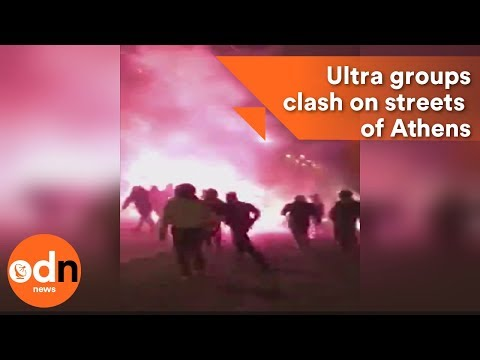 Ultra groups from AEK, Ajax and Panathinaikos clash on streets of Athens