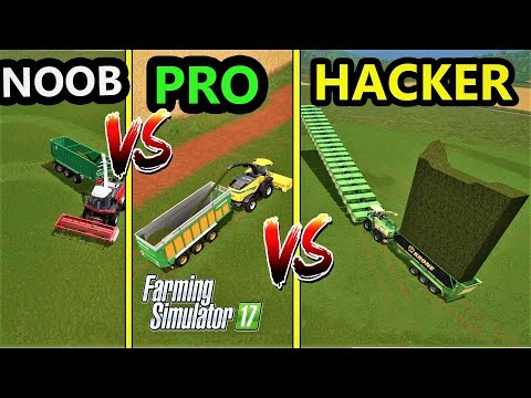 Farming Simulator 17 : NOOB vs PRO vs HACKER | Gameplay Comparison [ GRASS JOB!!!]