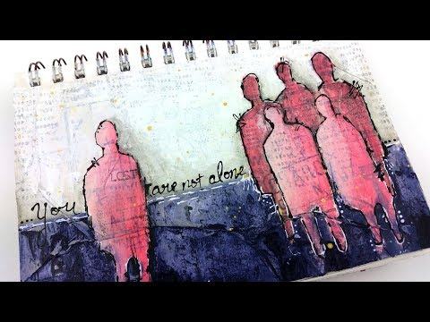 Art Journal Page || Pink Silhouettes