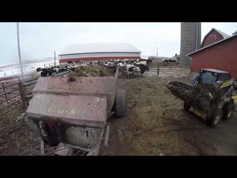 Loading Meyer Spreader w/ NH Skid Steer